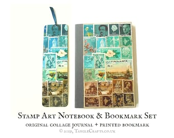Matching Stamp Art Notebook with Printed Bookmark Set