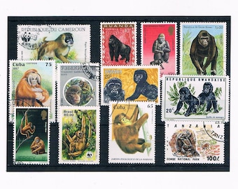Monkey Postage Stamps inc part sets - Vietnam 1987, Laos 1992