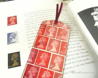 Tonal red Machin postage stamp bookmark