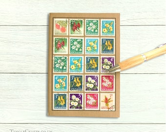 New Zealand Flowers Journal | Gardener Notebook, Gift for Garden Lover | Vintage Flower Postage Stamps, Mothers Day Gift | NZ Travel Journal