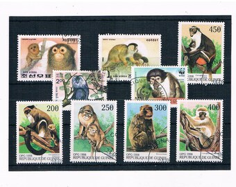 Monkey Postage Stamps - mixed countries inc part set from Guinea