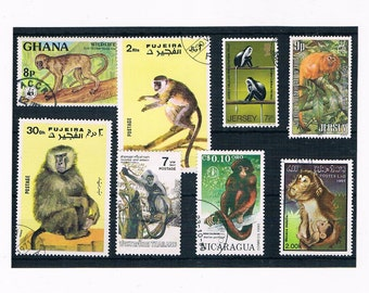 Monkey Postage Stamp Selection - mixed countries