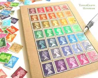 A5 Graduated Rainbow Notebook decorated with real Machin postage stamps