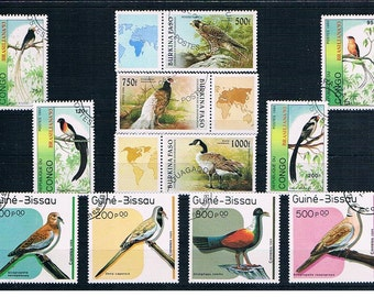 Bird Stamp Selection - part sets from Guinea-Bissau (1989), Congo (1993), Burkina Faso (1996)
