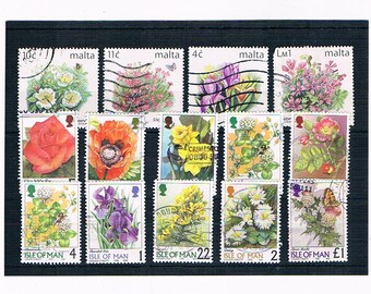 WildFlower Postage Stamps from Malta & Isle of Man, circa 1990s