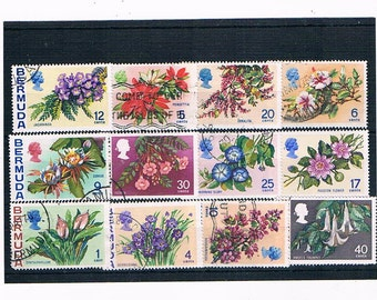 Flowers on Postage Stamps from Bermuda, 1970s