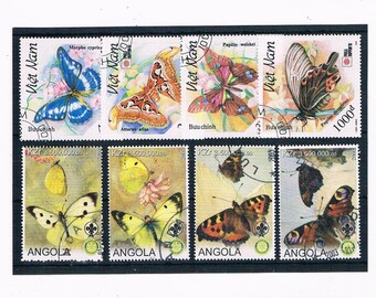 Large Butterfly Postage Stamps for Crafting - Part sets Vietnam 1991 & Angola 2003