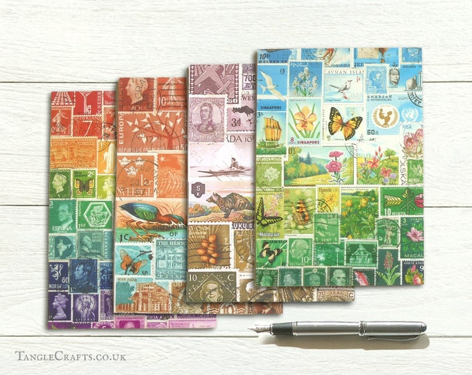 Featured listing image: Landscape letter writing set, eco friendly recycled paper, postage stamp art print