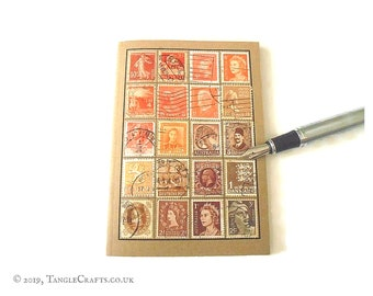 Orange brown travel notebook - vintage stamp album cover