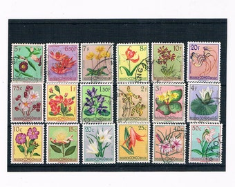 Flower Definitive Stamp Set from Belgian Congo, circa 1950s