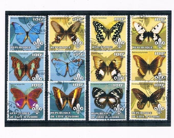 Bue & Yellow Butterfly Stamps for crafting - Ivory Coast