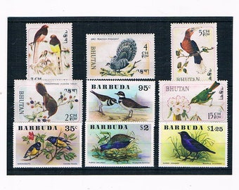 Birds on Postage Stamps | vintage bird postal stamps, delicate colours | topical thematic stamps for wedding craft, cards, collection etc