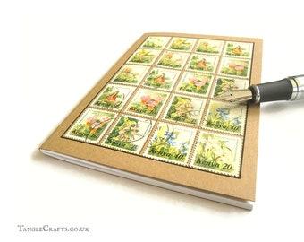 Floral Garden Notebook - Upcycled Kenya Postage Stamps