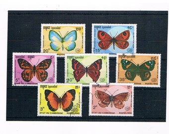 Butterfly Postage Stamp Set- Cambodia, 1990