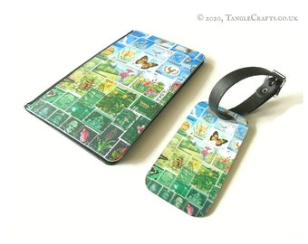 Happy Valley Passport Cover & Luggage Tag Set - postage stamp print travel accessories