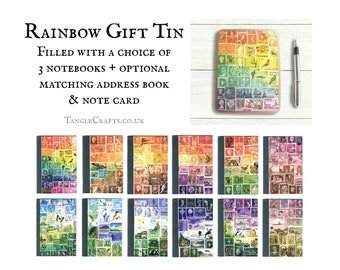 Rainbow Storage Tin Gift Set inc 3 pocket notebooks