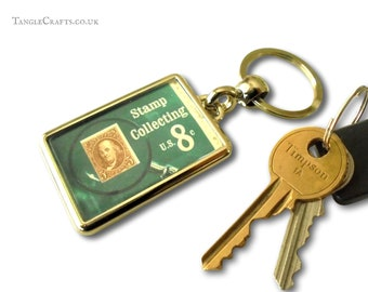 Stamp Collector Keyring - real 1972 postage stamp from USA