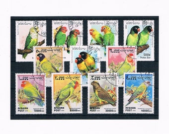 Parrots on Postage Stamps - Laos 1997, Afghanistan 1999