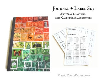 Sunset Postal Art - Any Year Diary with 2019 Calendar & Labels Set