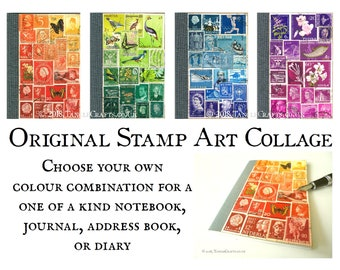Custom Colour Stamp Art Journal, choice of layout | Recycled A6 Notebook Upcycled with One of a Kind Collage of Vintage World Postage Stamps