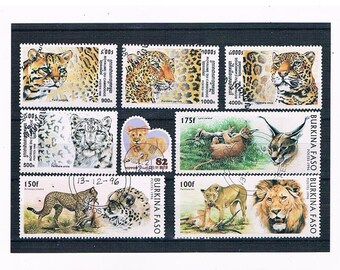 Big Cat Postage Stamp Selection inc 1998 Cambodia & 1996 Burkina Faso