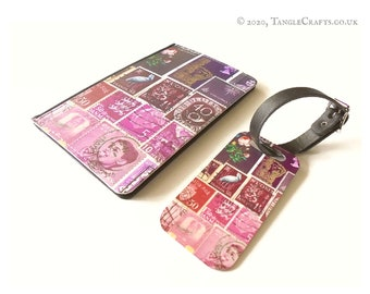Heather Haze Passport Cover & Luggage Tag Set - postage stamp print travel accessories