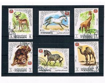 Wild Animal Postage Stamps - part set, Yemen 1969