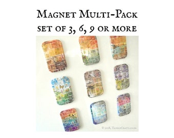 Set of Stamp Art Fridge Magnets • Postage Stamp Print Party Favours