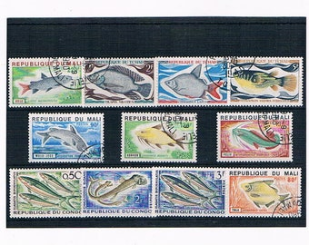 Vintage Fish Postage Stamps from French Colonies - Chad, Congo & Mali