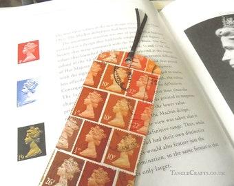 Tonal orange Machin postage stamp bookmark