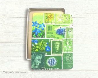 Storage Tin for A5 Stationery | Green Postage Stamp Print, Decorative Gift for Boho Office | Desk tidy, shallow tin box with lift off lid
