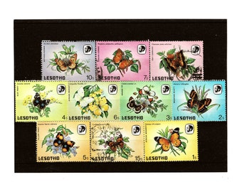 Colourful butterfly postage stamps from Lesotho, 1984, part set | rainbow butterflies vintage used postal stamp selection | craft or collect