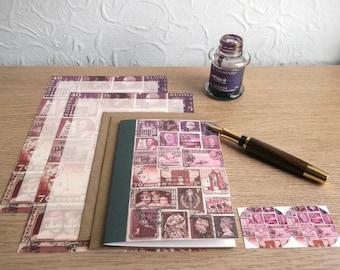 Dusklight Notepaper & Notecard Sampler Set • Vintage Postage Stamp Art