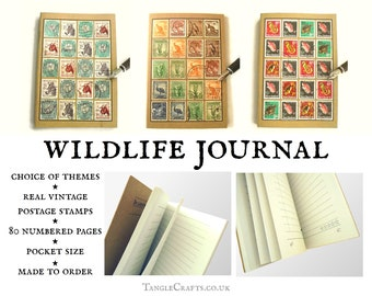Wildlife Journal, recycled A6 notebook decorated with real vintage stamps