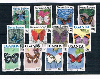 Butterfly Stamps Collection - vintage butterflies from Uganda & Sierra Leone | postal stamp selection for papercraft, collage, philately etc