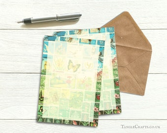 Summer Writing Paper Set   A5 Letter Set, Sunshine Flowers & Butterflies   Postage Stamp Art Penpal Gift, Postal Snail Mail Letter Paper