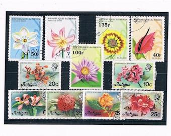 Flower Postage Stamps - Antigua Set, 1976 + Benin part set, 1995