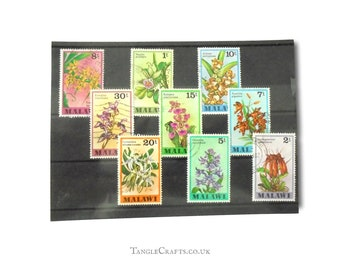 Orchid postage stamps from Malawi, 1979 vintage floral part set