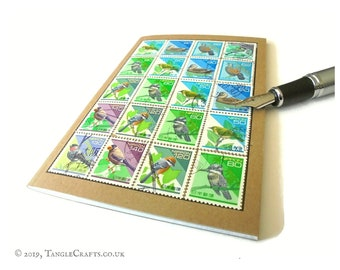 Bird Lover Notebook • Japanese Postage Stamp Travel Journal