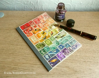 Rainbow Postage Stamp Travel Journal | A5 Bullet Journal Notebook, choice of pages