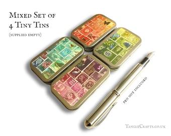 Set of 4 Tiny Decorative Storage Tins