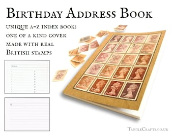 Cocoa birthday address book • Machin stamp cover A-Z notebook