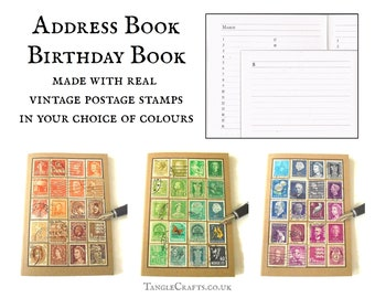 Tonal Ombre Vintage Stamps Address Book & Birthday Book