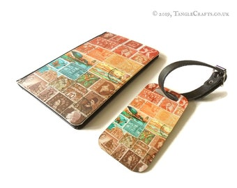 Sunset Heron Passport Cover & Luggage Tag Set - postage stamp print travel accessories