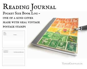 Book Journal, Reading Log - Custom Stamp Art, Your Choice of Colours