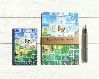 Happy Valley address book & writing paper set, postage stamp print landscape