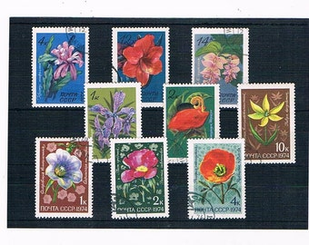 Retro Flower Postage Stamps from Russia | poppy, dianthus etc - vintage 1970s floral postal stamp selection | craft or collection, philately