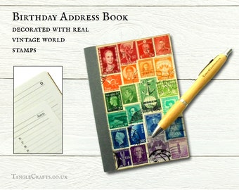 World rainbow address book • decorated with real vintage postage stamps