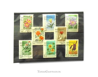 Russia Flower Postage Stamps | Vintage 1960 flower stamps from Soviet Union | floral stamps for topical collection, wedding card crafts etc