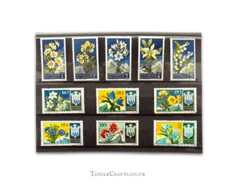 Mountain Flowers postage stamp selection, San Marino 1950s   narcissus tulip oleander cornflower iris   postal stamps to collect or craft